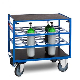Sauerstoffflaschen - Transportwagen mit Totmannbremse und einteiligem Deckel - abschließbar (Ringöse für Vorhangschloss)