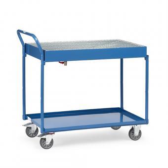 fetra Tischwagen mit Stahlblechwanne oben mit Gitterrost