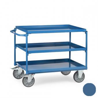 fetra Tischwagen mit 3 öldichten Wannen ( brillantblau oder anthrazitgrau )
