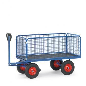 fetra Handpritschenwagen mit Drahtgitterwänden 600 mm hoch