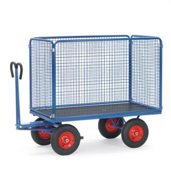 fetra Handpritschenwagen mit Drahtgitterwänden 1000 mm hoch